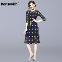 Borisovich Luxury Floral Embroidery Female A line Dress New Brand 2018 Autumn Fashion Hollow Out Lace Women Casual Dresses M918