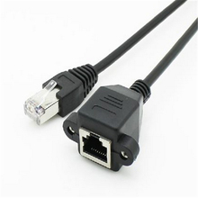 1pcs 30cm 8Pin RJ45 Cable Male to Female Screw Panel Mount Ethernet LAN Network 8 Pin Extension Cable