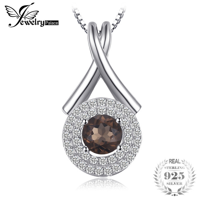 """JewelryPalace Fashion """"X"""" marks 0.65ct Natural Smoky Quartz Round Pendant S925 Sterling Silver Fine Jewelry Without Chain"""