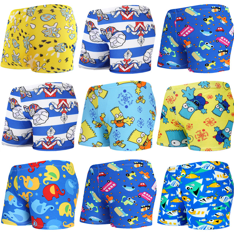 Ummer 15-32kg Boys Swimming Trunks Cartoon Children's Swimsuit Child Boys Swimwear Bathing Suit Kids Shorts Free Size