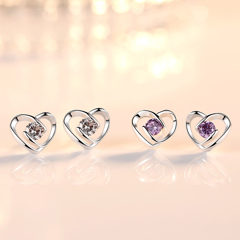 Wholesale 925 sterling silver romantic love heart crystal lady stud earrings jewelry women wedding gift Anti allergy promotion in Stud Earrings from Jewelry Accessories