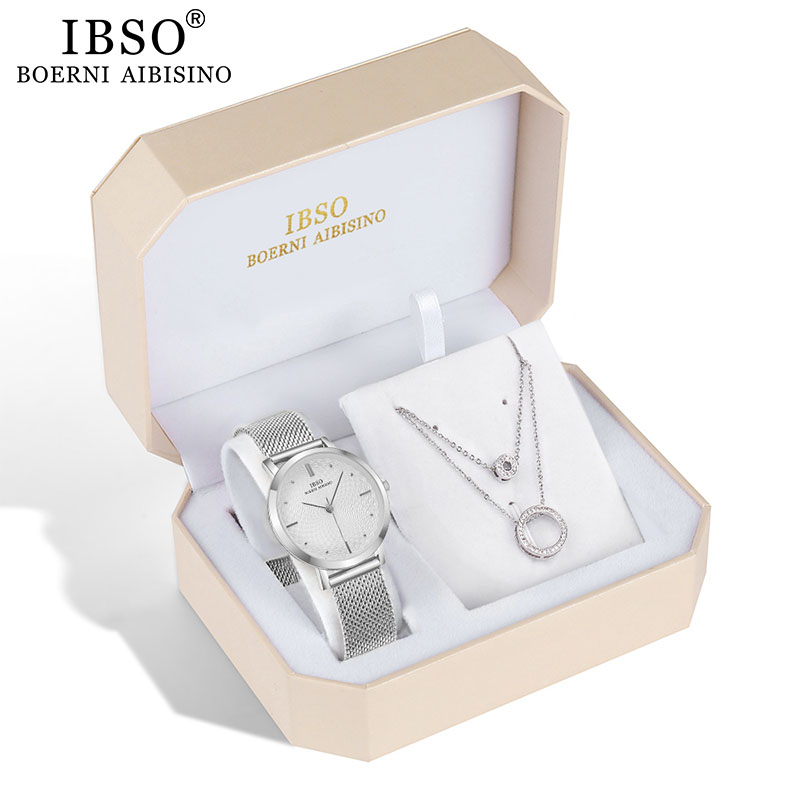 IBSO Brand Women Watch Set Silver Earring Necklace Set Female Jewelry Set Fashion Creative Crystal Quartz Watch Lady's Gift