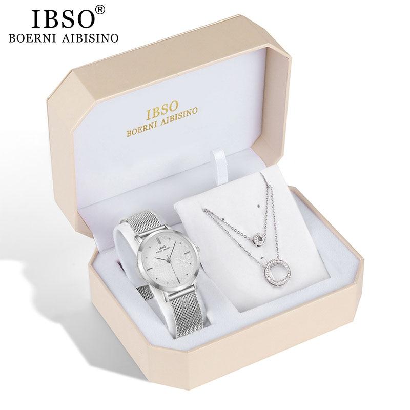 IBSO Brand Women Watch Set Silver Necklace Quartz Watch Set Female Jewelry Set Fashion Creative Crystal Quartz Watch Lady's Gift