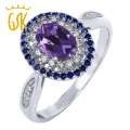GemStoneKing 925 Sterling Silver Fine Jewelry 1.35 cttw Genuine Oval Purple Amethyst Women's Engagement Ring