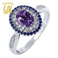 GemStoneKing 925 Sterling Silver Fine Jewelry 1.35 cttw Genuine Oval Purple Amethyst Women's Engagement Ring