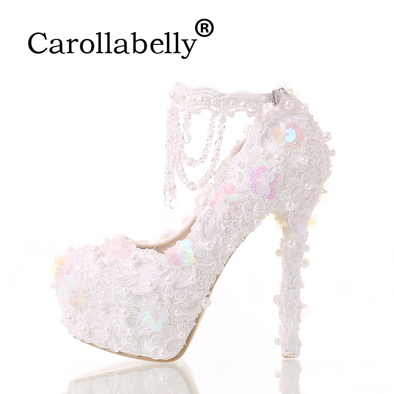 Carollabelly Women Fashion White Wedding Pumps Sweet White Flower Lace Platform High-heeled Pump Shoes Pearl Wedding Shoes camel 2015 autumn new fashion women pump cashmere calfskin round lace deep mouth high heeled shoes a53040605