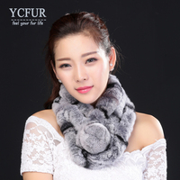 YCFUR New Style Real Fur Scarf Women Winter Handmade Knitted Natural Rex Rabbit Fur Scarves Wraps