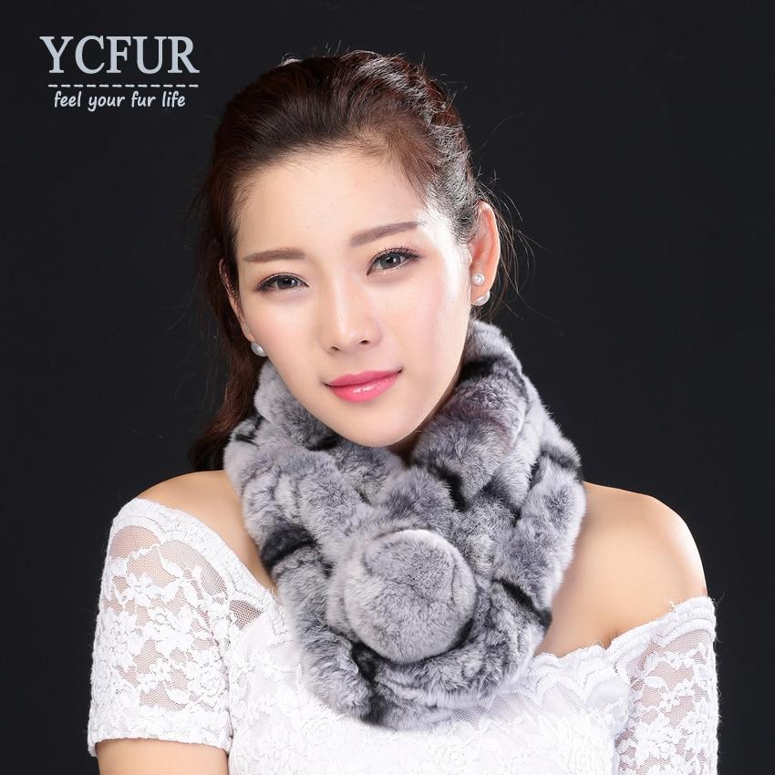 YCFUR Warm Winter Scarfs Wraps Women Handmade Natural Rex Rabbit Fur Scarves Wraps Female With Fur Pom Neck Scarf Ladies