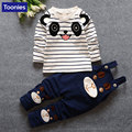 2017 Striped Character Baby Children Suits Kids Girls Tshirt +Strap Pants 3 Colors Spring &Autumn Cute Panda Toddler Boy Clothes