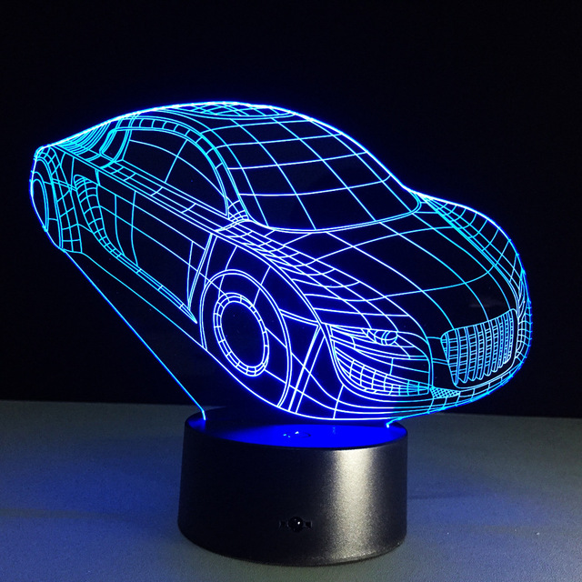 Cool Car Acrylic 3D Lamp 7 Color Chang Small Night Light