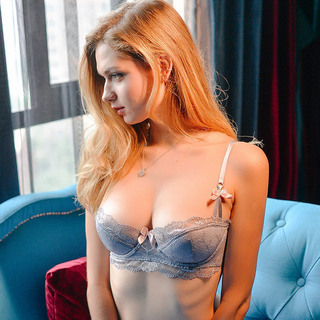 shaonvmeiwu Sexy lace thin cotton lingerie bra set with cotton cushion inserts gathers a large bra 2