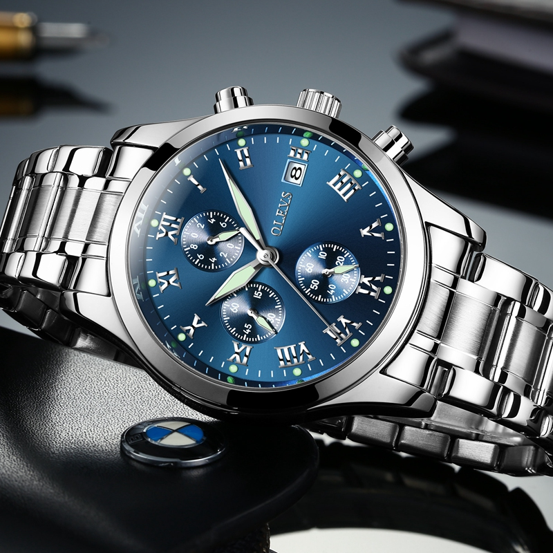 e8342179b68 OLEVS Lazer Homens Relógio Marca De Luxo Auto Data Quartz Negócios Relógios  Dos Homens de Aço Inoxidável Relógio de Pulso Esportes Relógio Luminoso em  ...