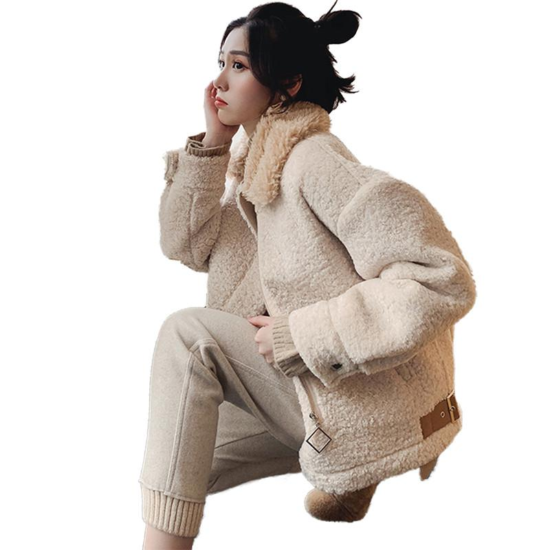 Women 2019 New Spring Autumn Loose Casual Lambswool Coats Female Suede Thicken Jackets Ladies Solid Warm Overcoat Outerwear V855
