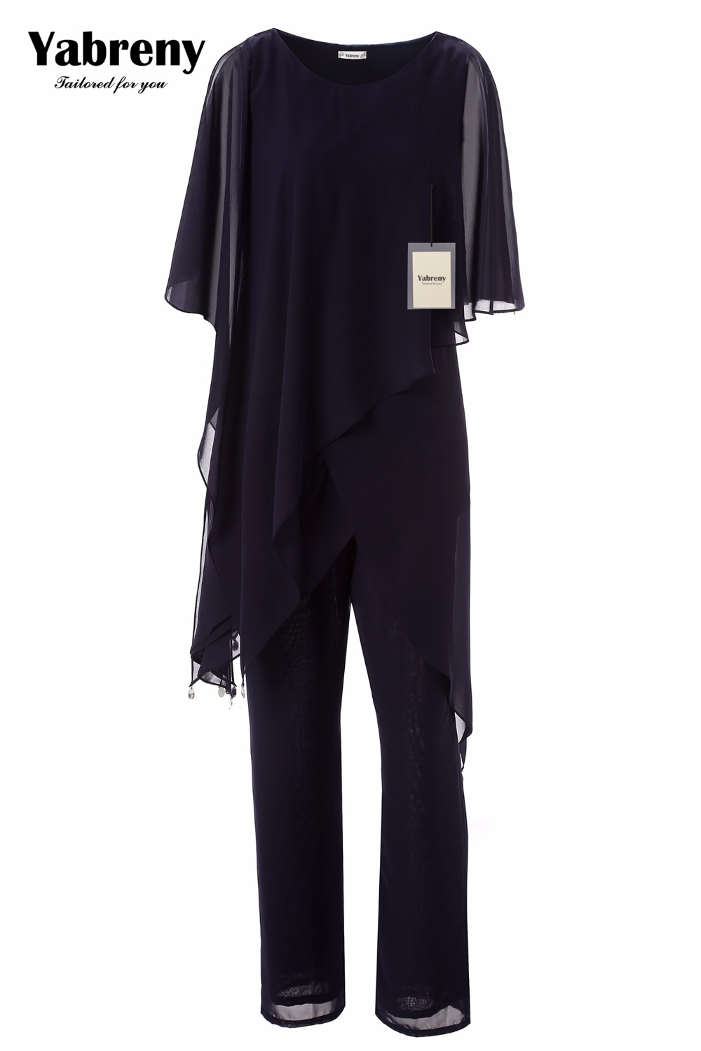 Yabreny New Arrival Dark Navy Chiffon Two Piece Mother Of The Bride Pantsuit Irregular Hem MT0017013-1