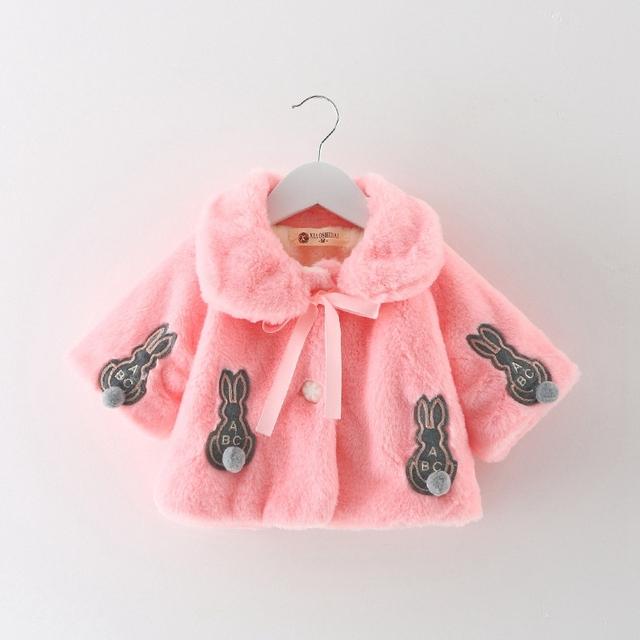 Moda Outono Inverno Quente Do Bebê Meninas Velo da Pele Do Falso Bonito bola Coelho Manto Cape Crianças Jaqueta Casaco Cardigan Outwear Casaco S3993