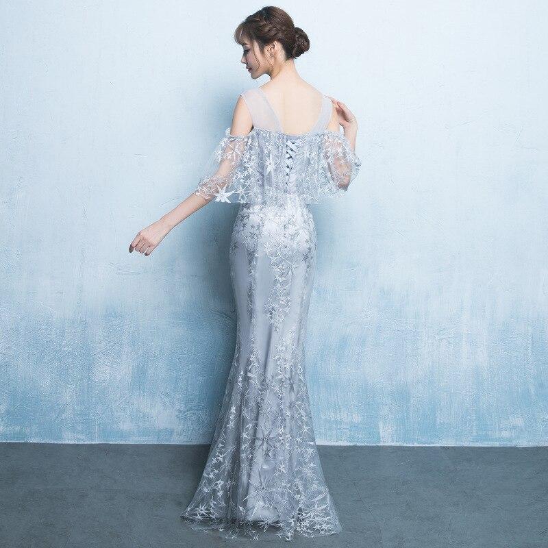Robes de soirée en dentelle sirène argent cou transparent longueur de plancher robes de bal avec élégante Cape robe de demoiselle d'honneur ZE051 - 2