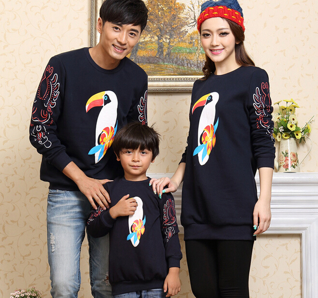 Parrot Print Family Sweatshirt Clothes Boys/Girls/Women/Men Sweatshirts Clothes for Mother and Dauhghter Father and Son, CHH80
