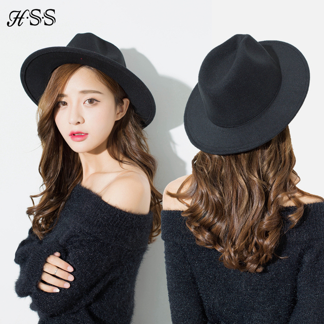 e4269ee349 HSS High Quality New Solid Color Woolen Hat Women's Spring Summer Fedora Cap  Retro Black Hats Couple England Leisure Jazz hat