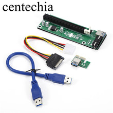 Centechia 50cm 3 colors PCIe PCI Express Riser Card 1x to 16x USB 3.0 Data Cable SATA to 4pin/6Pin IDE Molex Power for BTC,LTC