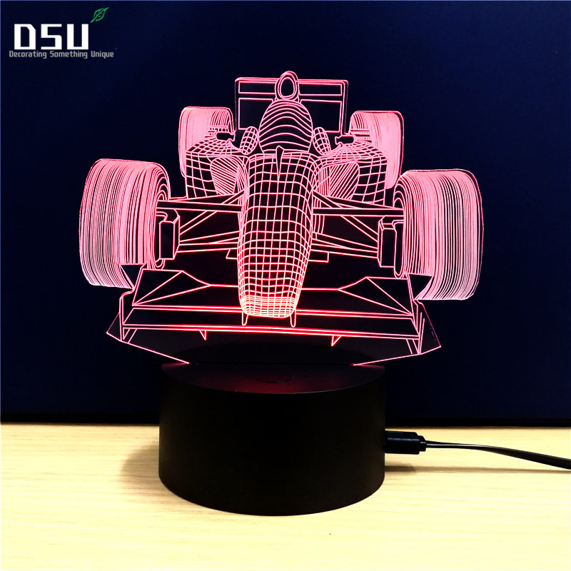 Racing Car 3D Valentine's Day Surprise LED Night Light Color Change Bedside Nightlight Indoor Decoration Lighting Best Gift