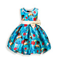 New Summer Children Dresses For Girls Children's cartoon Printed sleeveless Ocean princess Dresses for Birthday Party Dress