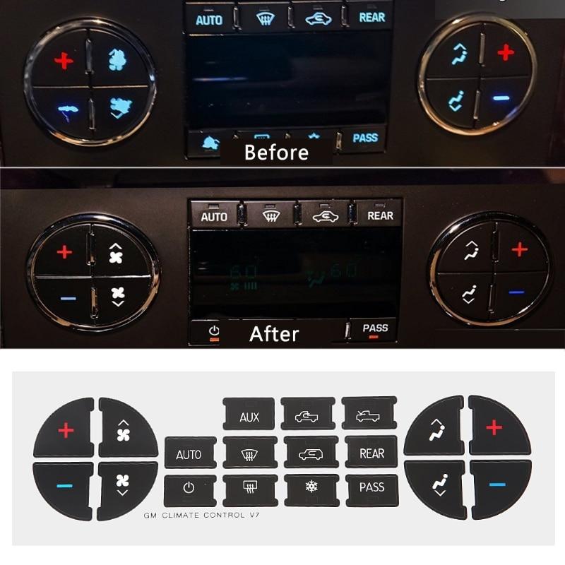 QILEJVS 1PC AC Dash Button Sticker Repair For Tahoe Suburban Avalanche Silverado Yukon Denali For GMC Vehicles