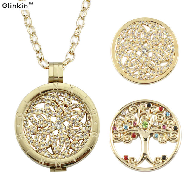Gold tree of life pendant necklace my coin stainless steel necklaces gold tree of life pendant necklace my coin stainless steel necklaces for women with 2pcs coins aloadofball Image collections