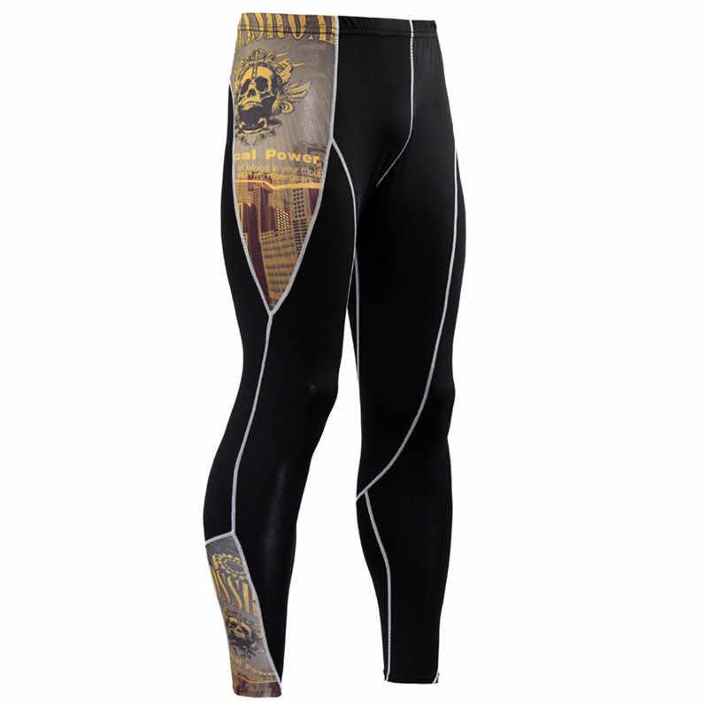 Los nuevos hombres de la piel medias polainas correr jogging entrenamiento de gimnasia Crossfit culturismo hombre Fondo pantalones de La MMA Pantalones fitness