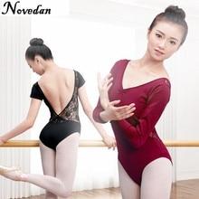 大人女性バレエダンスダンスウェア体操レオタードメッシュレース衣装ショート & ロングスリーブブラックスーツドレス