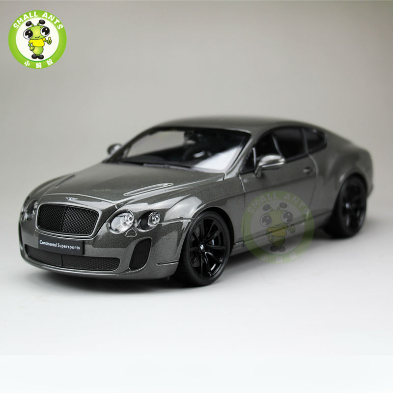1:18 Scale Bentley Continental GT Diecast Car Model Toys Welly 18038 Gray maisto jeep wrangler rubicon fire engine 1 18 scale alloy model metal diecast car toys high quality collection kids toys gift