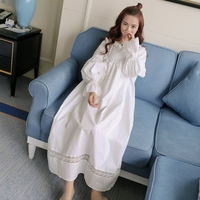 Pure Royal Memory Pure Cotton Nightgown Princess Long Sleeve Nightdress Ladies Sleepwear White Women's Nightwear AW313