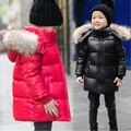Мальчики девочки реального ракун меховым воротником стеганый водонепроницаемый утка пуховик верхней одежды дети зимой теплый снег пальто