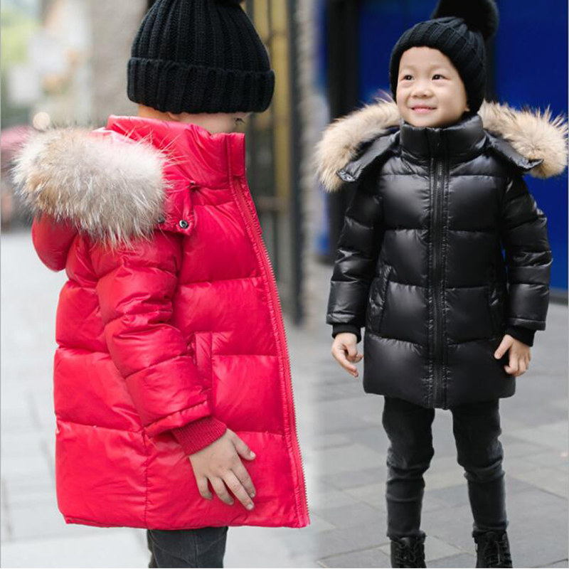 Ywstt Boys girls real raccoon fur collar quilted waterproof duck down jacket outwear kids winter warm snow coat
