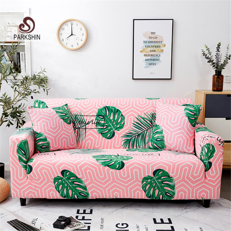 Parkshin Nordic Leaf Elastic Spandex Sofa Cover Tight Wrap All-inclusive Couch Covers for Living Room Sectional