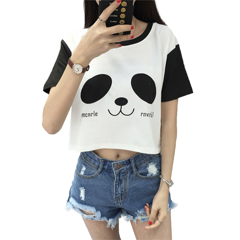 Summer Fashion Harajuku Short Sleeve Crop Top Female Cute Cartoon Panda Printed T Shirt Women Casual