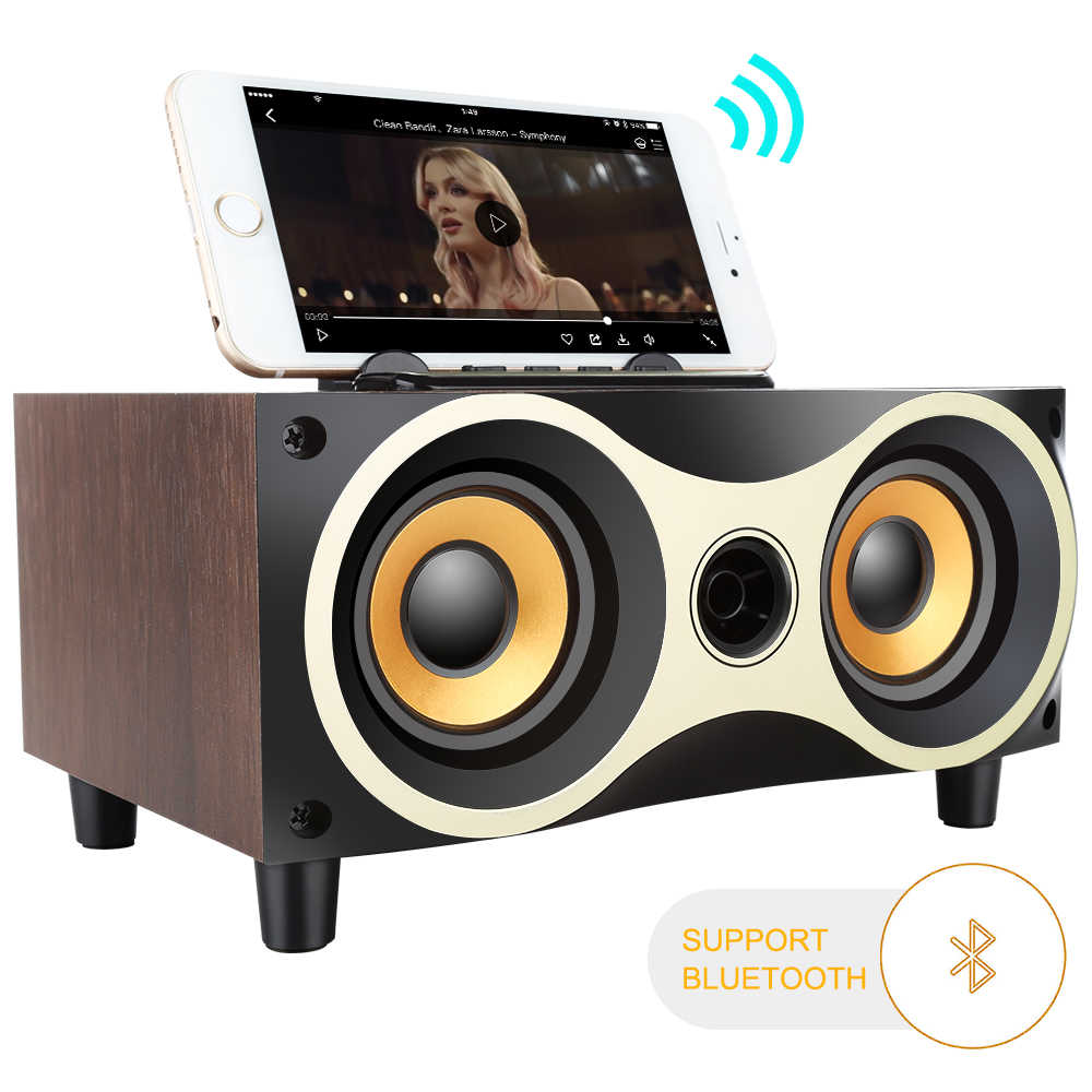 Bluetooth Speaker Kolom Kayu Portable Kolom HI FI Bass Speaker Subwoofer FM Radio Musik Player Kotak untuk iPhone/Android /PC