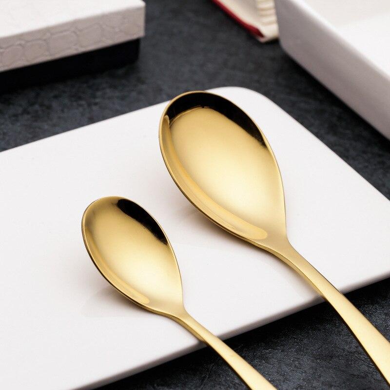 24 pièces titane couteau fourchette vaisselle ensemble or acier inoxydable Steak couteau fourchette cuillère ouest couverts ensembles - 4
