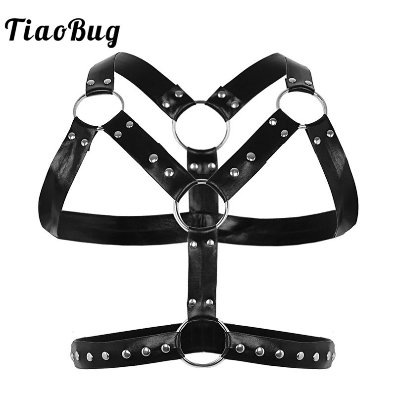 TiaoBug Men Black Faux Leather Metal Rings Body Chest Harness Punk Male BDSM Bondage Costume Sexy Gay Club Rave Straps Crop Top
