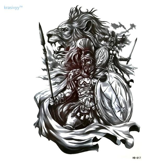 Us 079 39 Off2017 Heiße Verkäufe Hochwertigen Lion Und Ritter Cool Tattoo Body Art Wasserdicht Temporäre Faketattoo Arm Aufkleber Make Up