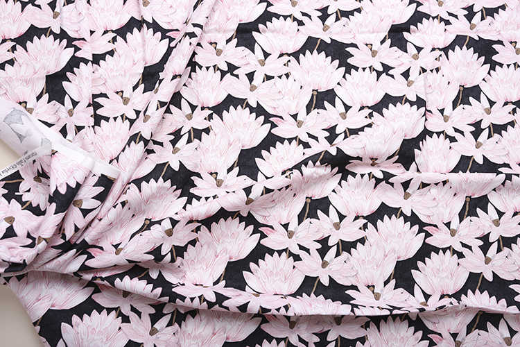 HLQON 100% cetim de algodão preto folhas de lótus estilo stretch tecido para costura DIY vestido de noiva roupas femininas estofos