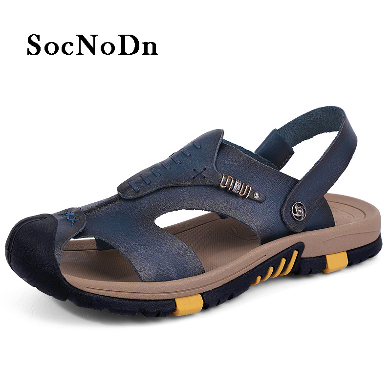 SocNoDn Mens Leather Sandals Fashion Casual Shoes Breathable Man Summer Walking Footwear Fisherman Sandals Outdoor