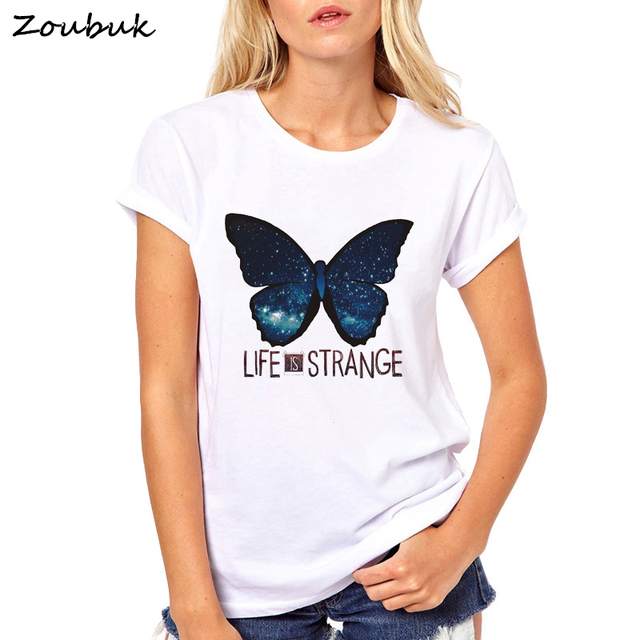Life is Strange t shirt women anime letter graphic T-Shirt female starry night  butterfly print Tops tumblr tee shirt femme shirt 4137e99fa