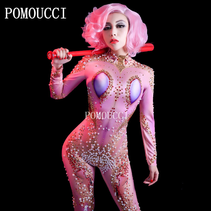 Women New Sexy Weird Jumpsuit Gold Sparkling Crystals Pearls Full Of Personality Stage Wear Show Time Nightclub Party Costumes