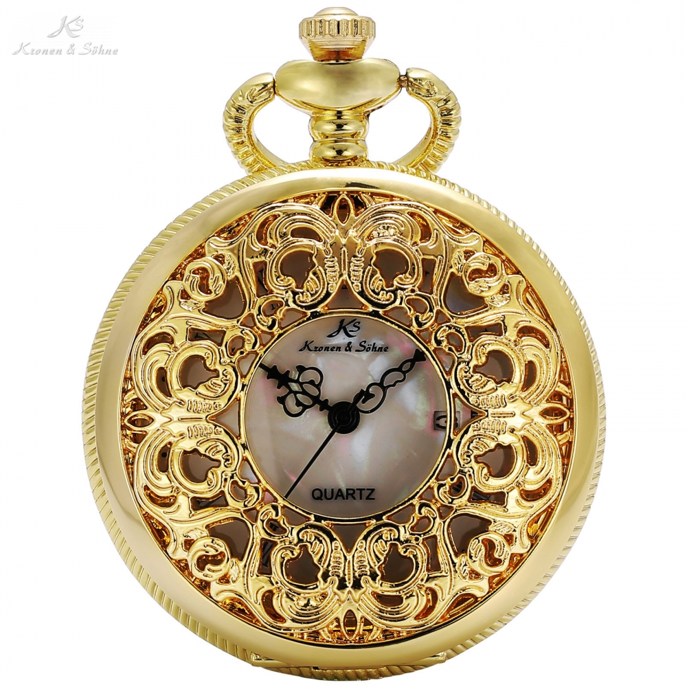 KS Vintage Retro Golden Hollow Case White Dial Analog Bird Flower Craft Quartz Relogio Pendant Fob Chain Pocket Watches /KSP077 аксессуар чехол puro crystal cover anchor для iphone 6 4 7 yellow ipc647ancoryel