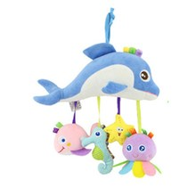 New Infant cut cartoon dolphin Plush Toys For Baby Crib Stroller Playing Toy Car Lathe Hanging