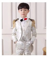 White Flower Notched Lapel Boy Suits One Button Wedding Suits Children Party Tuxedos boys Smoking blazer (jacket+pant+vest)
