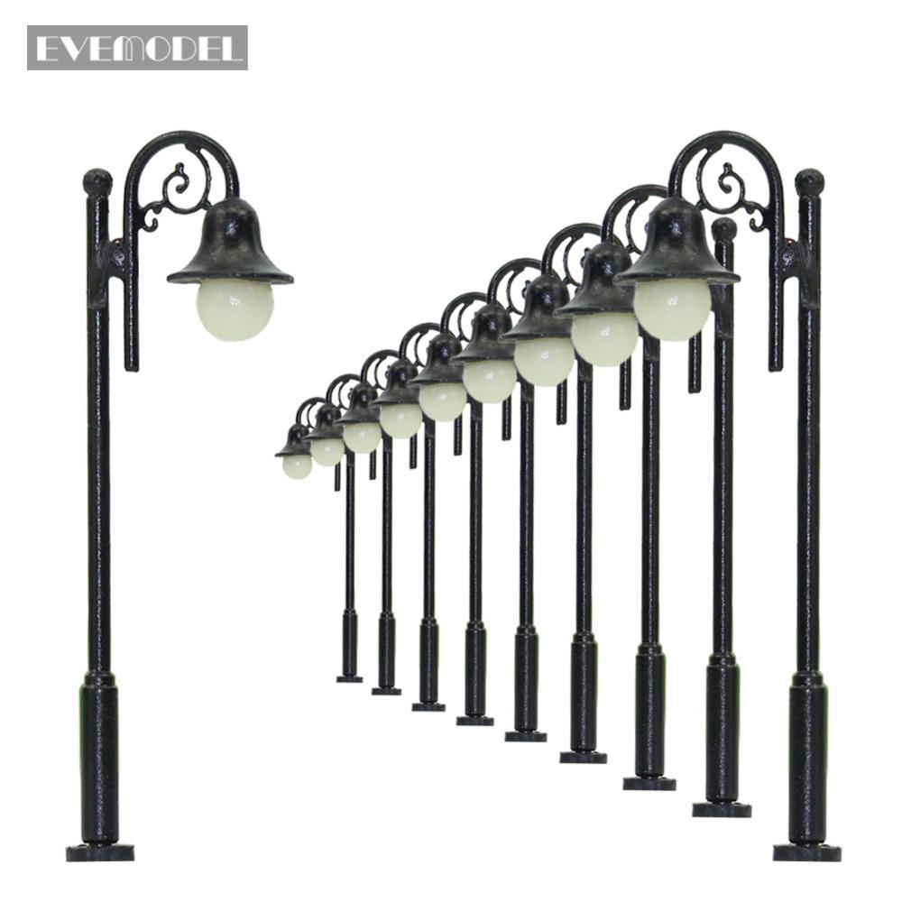 LYM38 10pcs Model Railway Train Lamp Post Single Head Street Lights N TT Scale LEDs NEW Miniature Warm White