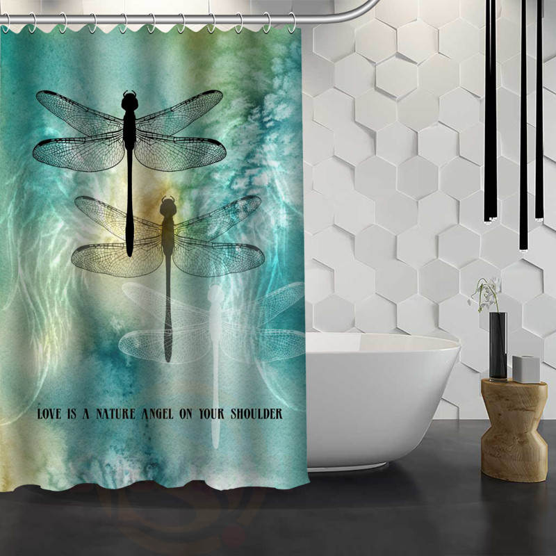 hot sale custom dragonfly custom shower curtain waterproof fabric bath curtain for bathroom fy1