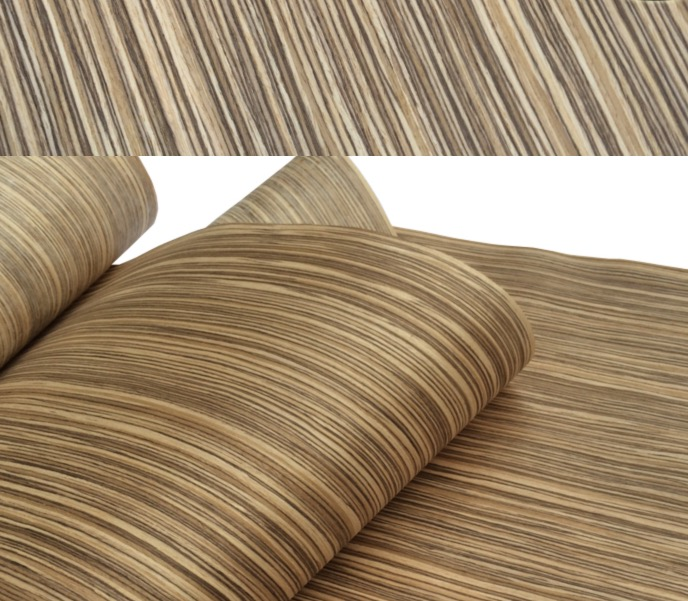 1Piece L:2.5Meters  Width:55cm Thickness:0.25mm Technology Zebra Stripe Wood Veneer (back Non Woven Fabric)