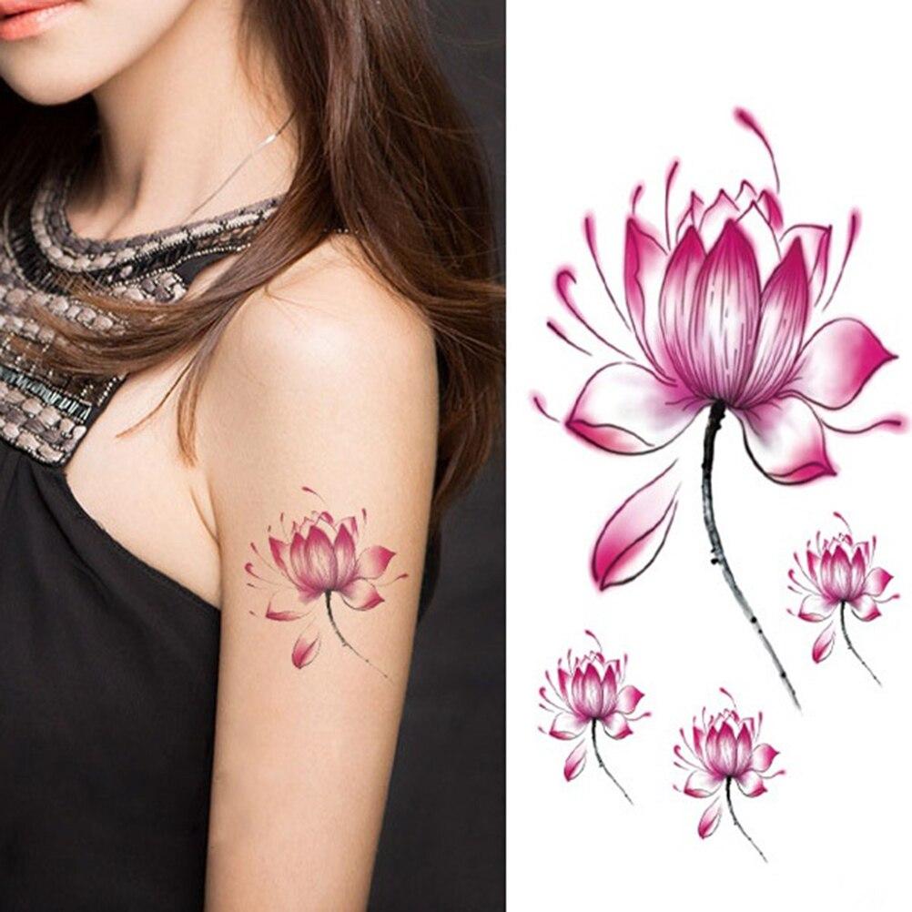 Waterproof Pink Lotus Flower 106cm Temporary Tattoo Sticker For
